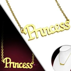 Gold Color Plated Stainless Steel Princess Monogra